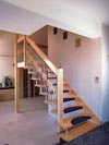 Wooden stairs with landing